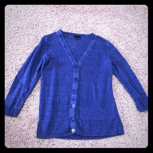 Talbots Blue Knit Cardigan with 3/4 Sleeves